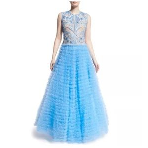 NAEEM KHAN BLUE TULLE EMBROIDERED RUFFLE GOWN